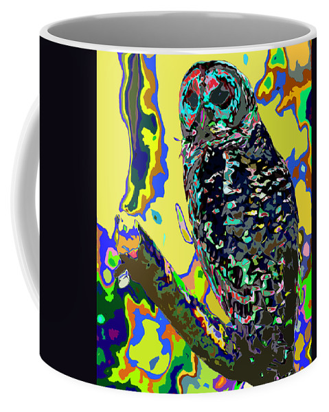Owl Coffee Mug featuring the digital art Psychedelic Owl by Norman Johnson