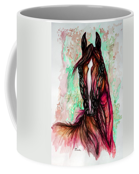 Horse Coffee Mug featuring the painting Psychedelic Pink And Green by Angel Ciesniarska
