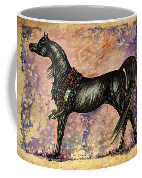 Horse Coffee Mug featuring the painting Psychodelic Black And Blue by Angel Ciesniarska