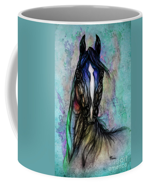 Horse Coffee Mug featuring the painting Psychodelic Blue And Green by Angel Ciesniarska