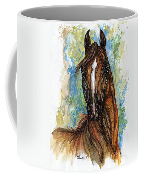 Psychodelic Coffee Mug featuring the painting Psychodelic Chestnut Horse Original Painting by Angel Ciesniarska
