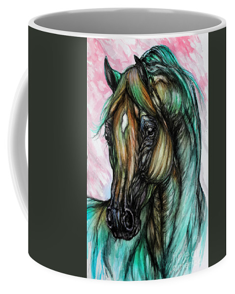 Horse Coffee Mug featuring the painting Psychodelic Pink And Green by Angel Ciesniarska