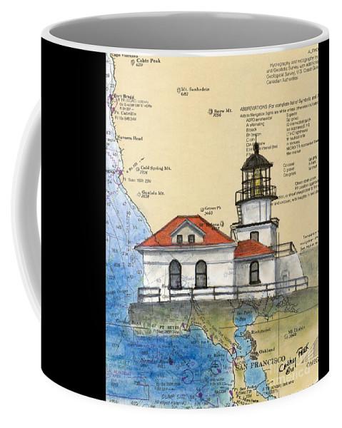 Point Coffee Mug featuring the painting Pt Bonita Lighthouse Ca Nautical Chart Map Art by Cathy Peek