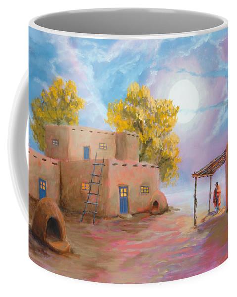 Pueblo Coffee Mug featuring the painting Pueblo de las Lunas by Jerry McElroy