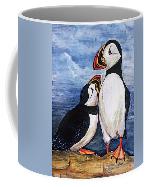 Puffins Coffee Mug featuring the digital art Puffin Friends by Gary Olsen-Hasek