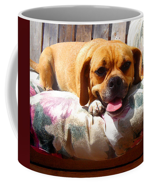 Animal Coffee Mug featuring the painting Puggle Lounging by Amy Vangsgard