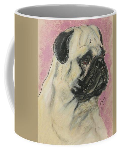Pug Coffee Mug featuring the drawing Pugnacious by Cori Solomon