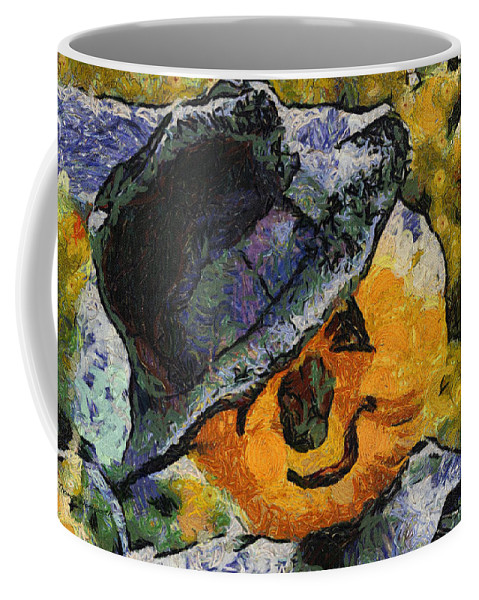 Orange Coffee Mug featuring the photograph Pumpkin Face Photo Art 05 by Thomas Woolworth