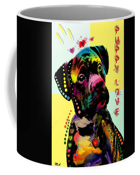 Puppy Coffee Mug featuring the painting Puppy Love by Mark Ashkenazi
