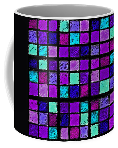 Photo Manipulation Coffee Mug featuring the photograph Purple And Aqua Sudoku by Karen Adams