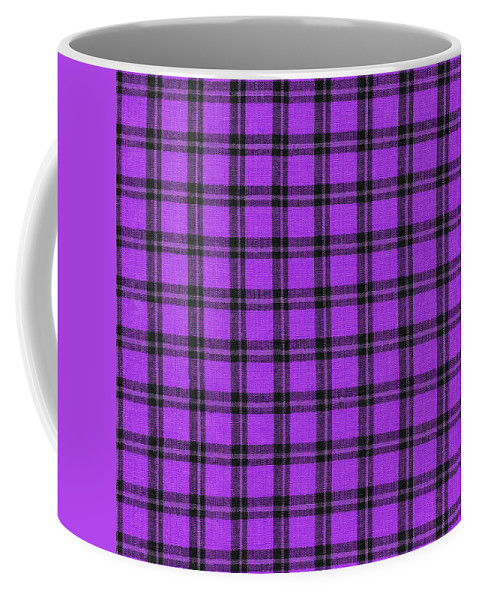 Plaid Fabric Coffee Mug featuring the photograph Purple And Black Plaid Textile Background by Keith Webber Jr