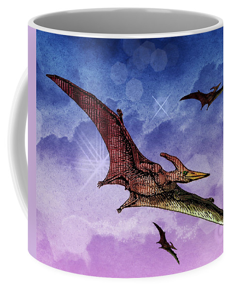 Dinosaur Reptile Prehistoric Pen+and+ink Watercolor Fantasy Imaginary Coffee Mug featuring the painting Purple And Green Ptreodactyls Soaring In The Sky by Elaine Plesser