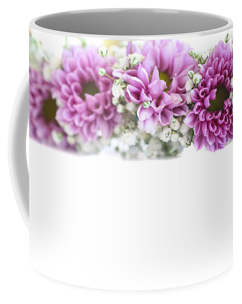 Kitsch Coffee Mug featuring the photograph purple and mauve Flower frame on white by Gal Eitan