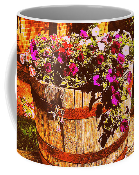 Flowers Coffee Mug featuring the photograph Purple Flowers In Rusty Bucket by Miriam Danar