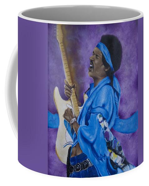 Portraiture Coffee Mug featuring the painting Purple Haze by Stephen J DiRienzo