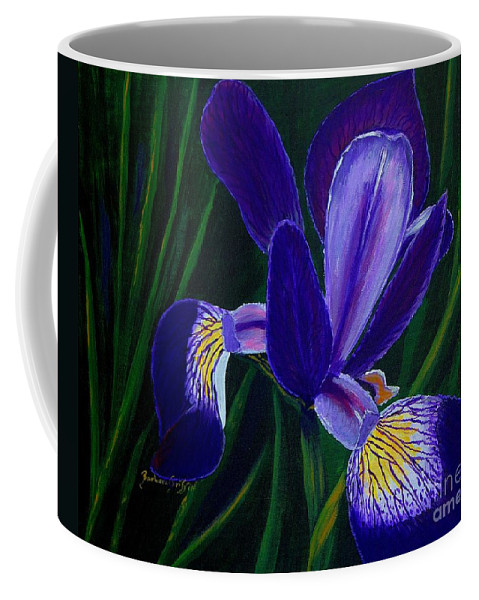 Barbara Griffin Coffee Mug featuring the painting Purple Iris by Barbara Griffin