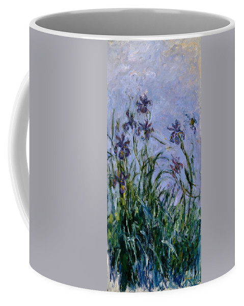 Purple Coffee Mug featuring the painting Purple Irises by Claude Monet
