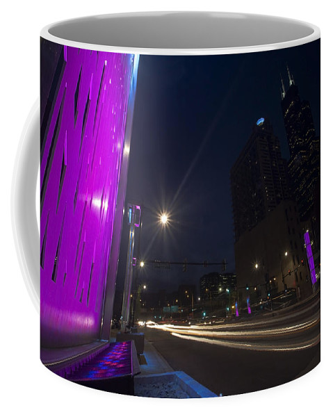 Chicago Coffee Mug featuring the photograph purple lights and Chicago Skyline by Sven Brogren