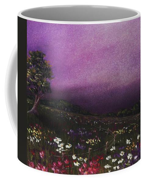 Malakhova Coffee Mug featuring the painting Purple Meadow by Anastasiya Malakhova