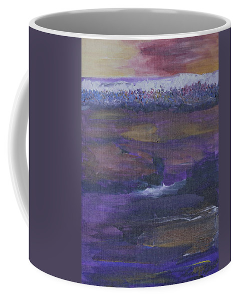 Purple Coffee Mug featuring the painting Purple Ocean by Kimberly Maxwell Grantier