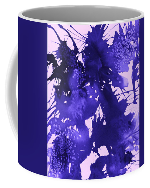 Purple Abstract Coffee Mug featuring the painting Purple Passion by Ellen Levinson