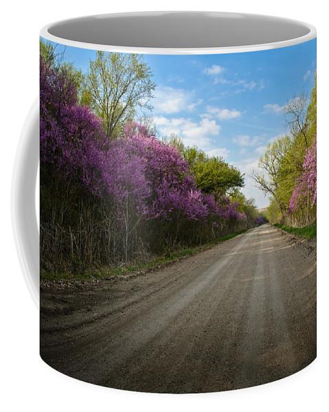 Flint Hills Coffee Mug featuring the photograph Purple Road by Eric Benjamin