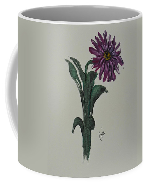 Flower Coffee Mug featuring the mixed media Purple Simplicity by Cori Solomon
