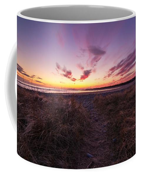 Sunset Coffee Mug featuring the photograph Purple Sunset Sky At The Beach by Trevor Nicodemo