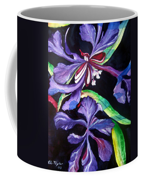 Purple Flower Coffee Mug featuring the painting Purple Wildflowers by Lil Taylor