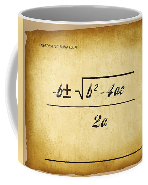 Featured Coffee Mug featuring the digital art Quadratic Equation - Aged by Paulette B Wright