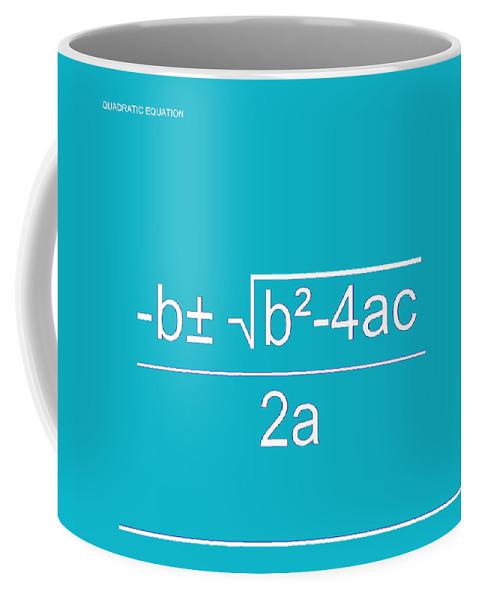 Featured Coffee Mug featuring the digital art Quadratic Equation Aqua-white by Paulette B Wright