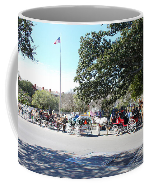 Horse Drawn Carriages Coffee Mug featuring the photograph Quaint Jackson Square by Bev Conover