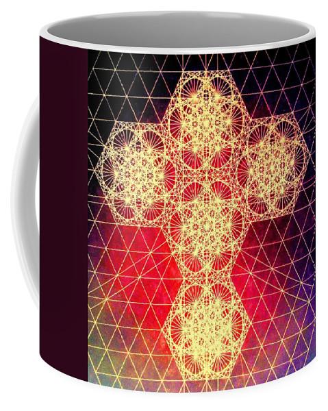 Cross Coffee Mug featuring the drawing Quantum Cross Hand Drawn by Jason Padgett