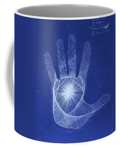 Hand Coffee Mug featuring the drawing Quantum Hand Through My Eyes by Jason Padgett