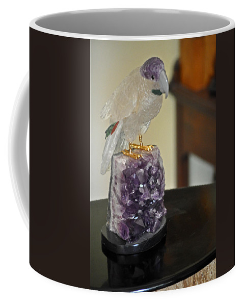 Bird Coffee Mug featuring the photograph Quartz Cockatiel On Stand by Jay Milo