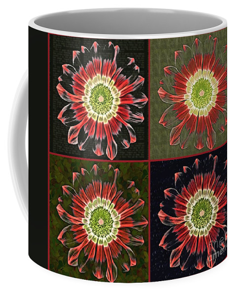 Flowers Coffee Mug featuring the digital art Quatro Floral - 0102cba by Variance Collections