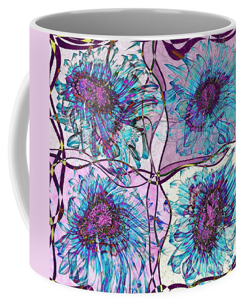 Flowers Coffee Mug featuring the digital art Quatro Floral - 11ac04 by Variance Collections