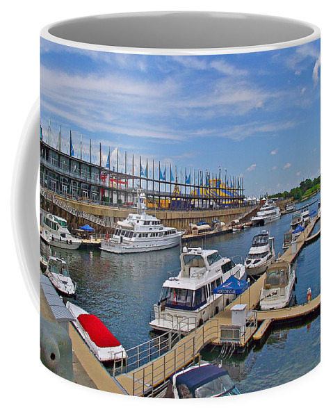 Quays Along Saint Lawrence River In Montreal Coffee Mug featuring the photograph Quays Along Saint Lawrence River In Montreal-qc by Ruth Hager