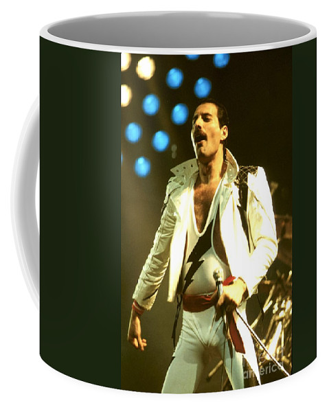 Spandex Coffee Mug featuring the photograph Queen - Freddie Mercury by Concert Photos