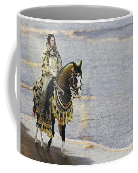 Horse Coffee Mug featuring the painting Queens War Horse by Constance Woods