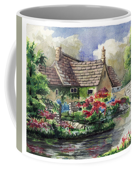 House Coffee Mug featuring the painting Quiet House Along The River by Alban Dizdari