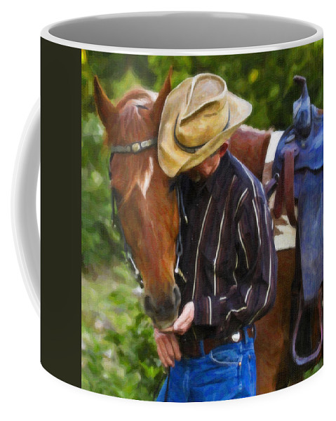 Rodeo Coffee Mug featuring the painting Quiet Moments by Dean Wittle