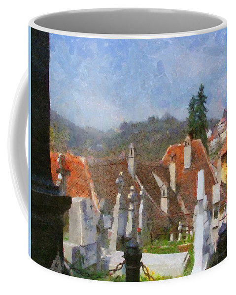 Architecture Coffee Mug featuring the painting Quiet Neighbors by Jeffrey Kolker