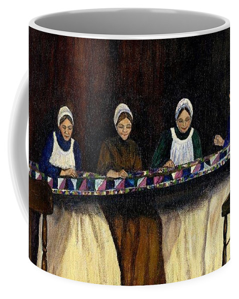 Women Coffee Mug featuring the painting Quilting by Gail Kirtz