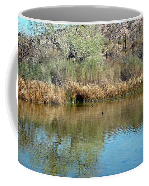 Desert Oasis Coffee Mug featuring the photograph Quitobaquito Springs by Susan Woodward