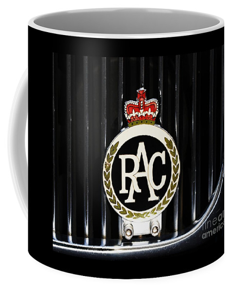 Automotive Art Royal Automobile Club Badge Sign Iconic British Emblem Daimler Grill Whimsy  Collectors Piece Gift Metal Frame Wood Print Canvas Print Poster Print Available On T Shirts Tote Bags Shower Curtains Pouches Mugs Weekender Tote Bags Birthday Cards And Spiral Notebooks Coffee Mug featuring the photograph Royal Automobile Club Badge, Victoria by Marcus Dagan