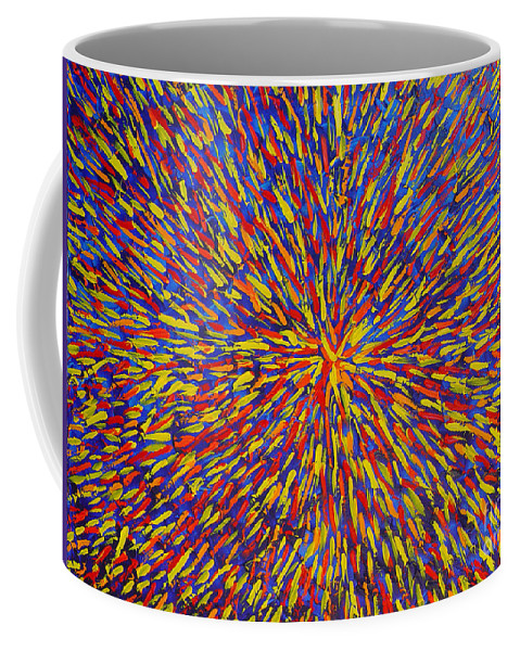 Abstract Coffee Mug featuring the painting Radiation Blue by Dean Triolo