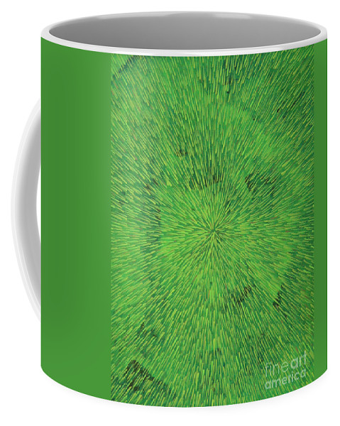 Abstract Coffee Mug featuring the painting Radiation Green by Dean Triolo