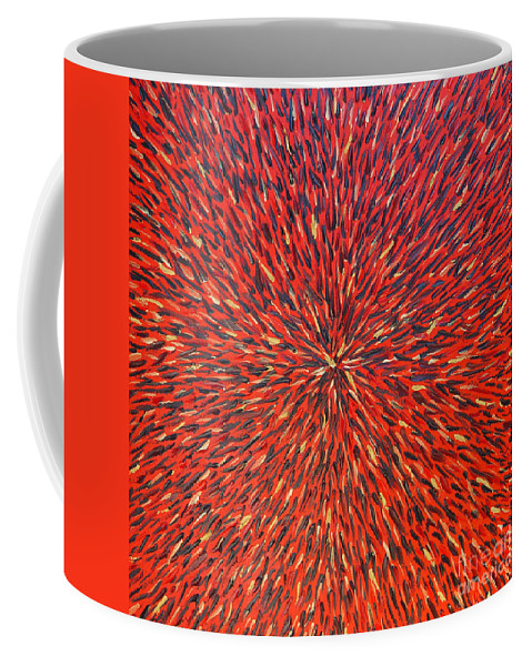 Abstract Coffee Mug featuring the painting Radiation Red by Dean Triolo