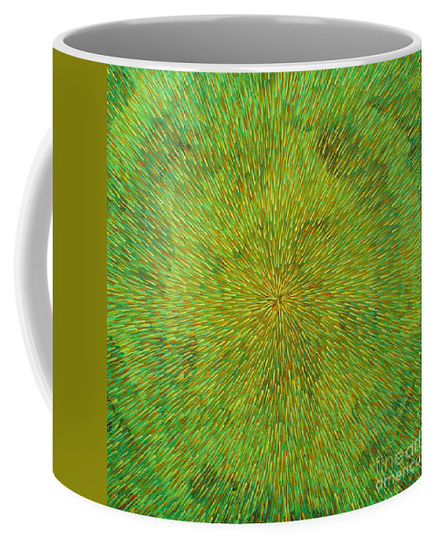 Abstract Coffee Mug featuring the painting Radiation With Green Yellow And Orange by Dean Triolo